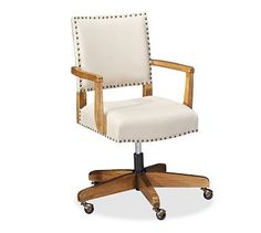Manchester Swivel Desk Chair in Dark Brown Leather - Pottery Barn (A New Desk Chair That Looks Amazing)