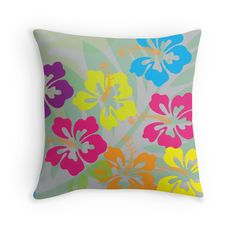 Tropical Flowers - Throw Pillow Cover - Multicolour - http://annumar.com/en/designs/tropical-flowers-throw-pillow-cover-multicolour