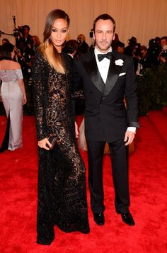 Joan Smalls & Tom Ford, Met Gala 2013. ...I love the pattern in the weave of her dress...