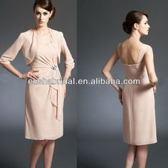 Casual Knee-Length Chiffon Peach Mother Of The Bride Dresses