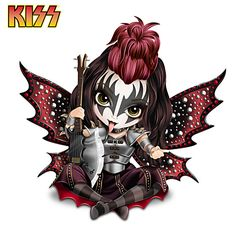 Drawing Animals 906661001 - Jasmine Becket-Griffith Gene KISS Fairy Figurine - A FIRST! Officially licensed KISS® fairy figurines with glittery wings, hand-painted metallic accents and high-gloss finishes. Gothic Fantasy Art, Gothic Fairy, Dibujos Anime Chibi, Fairy Pictures, Fairy Figurines, Sugar Skull Art, Baby Fairy, Beautiful Fairies, Wow Art
