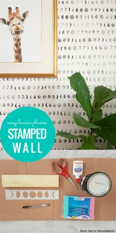 Shoot for the Moon! Easy Budget Friendly DIY Stamped Accent Wall 2019 Shoot for the Moon! Easy Budget Friendly DIY Stamped Accent Wall The post Shoot for the Moon! Easy Budget Friendly DIY Stamped Accent Wall 2019 appeared first on Nursery Diy. Painted Feature Wall, Hand Painted Walls, Feature Walls, Diy Tapete, Diy Wand, Diy Wall Painting, Painting An Accent Wall, Wall Paintings, Faux Painting
