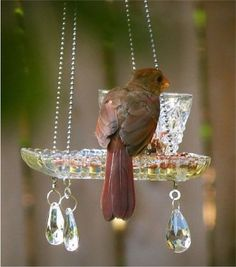 Pretty Yard Art and Garden ideas. These recycled teacup and crystal homemade bird feeders are beautiful! Plastic Hanging Baskets, Hanging Planters, Hanging Bird Feeders, Garden Spheres, Glass Garden, Witch's Garden, Garden Crafts, Garden Projects, Garden Ideas