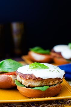 Quinoa Crusted Chicken Parmesan Burgers