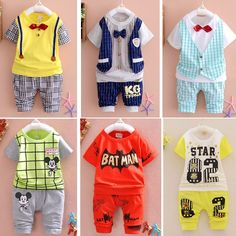 2015 New Summer  baby Sport suit 100% cotton fashion  design baby boys clothing set for 1 2 3 Years Old A095-6