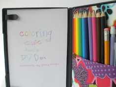 50 Road Trip Ideas For Kids / Six Sisters' Stuff | Six Sisters' Stuff - This DVD case coloring kit is amazing!