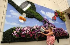 World's first living billboard made entirely of British flowers