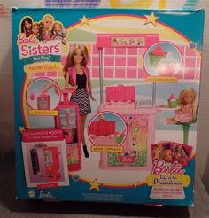 2014  NIB CFB46 Barbie Sisters Fun Day Playset Frozen Yogurt Shop Malibu Ave 3+ #BarbieMattel #Accessories