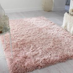 Dazzle Blush Pink Plain Shaggy Rug-TheRugShopUK A Pink Rug For Every Style – from Modern Blush to Vintage Hot PinkWell Woven Dazzle Rug in Pink / White Blush Pink Living Room, Pink And Grey Room, Blush Pink Bedroom, Pink Bedroom Decor, Pink Bedrooms, Pink Home Decor, Pink Room, Bedroom Rugs, Bedroom Ideas