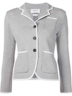 THOM BROWNE Contrast Trim Buttoned Jacket. #thombrowne #cloth #jacket