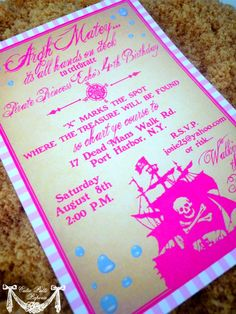 Girl Pirate Birthday Invitation Printable or Printed Party Invite