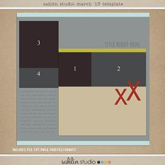 Feb '13 Digital Scrapbooking FREE Template | Sahlin Studio | Digital Scrapbooking Designs