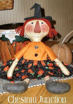 Raggedy Witch EPATTERN -primitive halloween annie cloth doll craft digital download sewing pattern - PDF - 1.99
