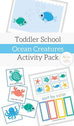 Ocean Creatures Mess Free Sensory Play for Toddlers - Mama of Littles 18 Month Activities, Sea Activities, Toddler Learning Activities, Classroom Activities, Cognitive Activities, Preschool Curriculum, Summer Activities, Ocean Lesson Plans, Lesson Plans For Toddlers