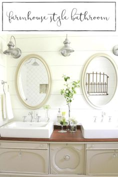 This gorgeous farmhouse style bathroom is full of so much charm and character, it's sure to inspire!