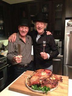 Sir Ian McKellan & Sir Patrick Stewart celebrate Thanksgiving