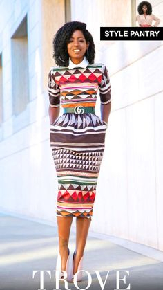 Stella Jean Tribal Midi Dress (Style Pantry) - O Pins African Print Dresses, African Wear, African Attire, African Dress, African Style, African Prints, African Fabric, African Women, African Beauty