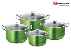 "4pc CASSEROLE SET ""EMERALD"" - SQ Professional brings you its brand new flagship 'Gems' range of cookware. This sets sparkles with the brilliance of the gemstones after which it is named. Made from high quality stainless steel, they come complete with vented, tempered glass lids. You can be certain that a set from the Gems range will be the talking point in any kitchen. Dimensions: 3.7L - ø20cm x 12cm 