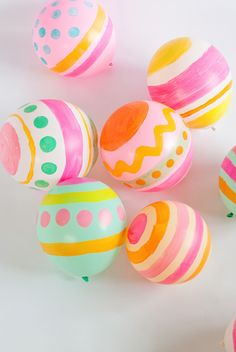 Hand Painted Easter Egg Balloons   The Shop Sweet Lulu Blog