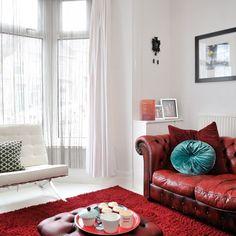 Weiße und rote Wohnzimmer Wohnideen Living Ideas Interiors Decoration