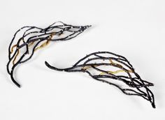Winter Night earrings by Bongsang-Cho at Hedone Gallery. Silver and 14K gold-filled.  Price: $440.00