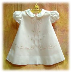 Organdy White Baby Dress with Embroidery