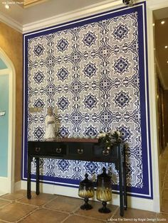 Our Lisboa Tile Stencil is a beautiful classic tile stencil design inspired by the Portuguese tiles, known as azulejos, that line the walls of Lisbon, Portugal. Use this pretty tile stencil on walls, Floor Design, Tile Design, House Design, Portuguese Tiles, Turkish Tiles, Moroccan Tiles, Modern Moroccan Decor, Entry Wall, Royal Design