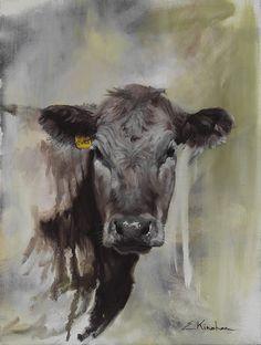 Ever print / Elizabeth Kinahan Paintings Animals Drawing Images, Animal Drawings, Art Drawings, Pencil Drawings, Pencil Art, Cow Paintings On Canvas, Farm Paintings, Animal Paintings, Canvas Canvas