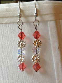 Glass and Crystal Butterfly and Flower Dangle by aircooledclothes, $15.00