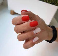 Beautiful nails 2018 Classic nails ideas Fashion nails 2018 Novelty of fall nails October nails Original nails Red and pink nails Two color nails Two Color Nails, Nail Colors, Colours, Ten Nails, October Nails, Natural Gel Nails, Classic Nails, Chrome Nails, Red Matte Nails