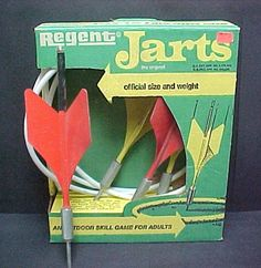 Lawn darts. Such great memories at my great-grandparent's house in the summer and having family cookouts:)