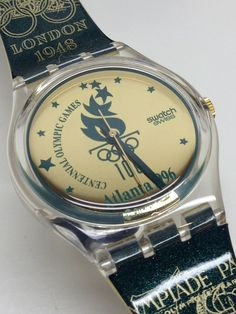 Vintage Retro Green Gold Swatch Watch Olympics 1996 GZ136 Atlanta With Paper #Swatch #Casual