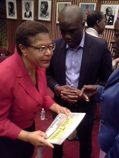 Congresswoman Karen Bass, Ranking Member of the Subcommittee on Africa, with the LEADERSHIP AWARD