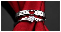 Endless Love Open Heart Band and Heart-Cut Diamond Ring Adjustable Set
