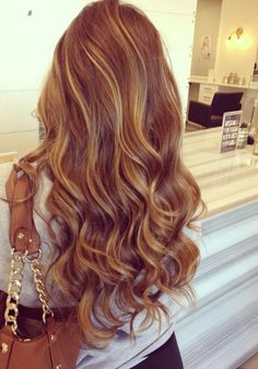 Back View of sexy long wavy hair style