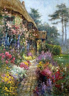 art-and-dream: Art painting wonderful style by Alfred de Breanski, - love these old country cottage paintings. Garden Painting, Garden Art, Painting & Drawing, Garden Cottage, Cottage Homes, Image Nature Fleurs, Storybook Cottage, Dream Art, Paintings I Love