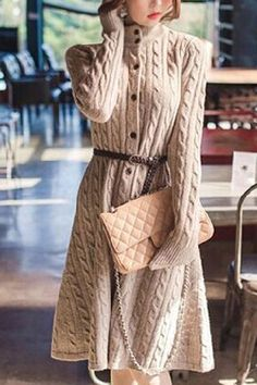 Chic Long Sleeve Turtleneck Single Breasted Sweater Dress For Women