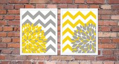 """Flower Bursts with Chevron Zig Zags Modern Home Wall Art - Set of (2) 11"""" x 14"""" -  Yellow and Grey // Bedroom, Living Room, Bathroom Decor on Etsy, $38.00"""