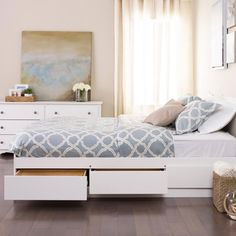 Winslow White Queen Platform Storage Bed | Overstock.com Shopping - Great Deals on Beds