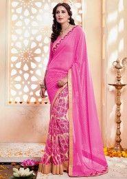 Party Wear Pink Georgette Printed Saree