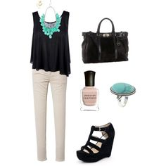 Turquoise & Black Weekend Outfit, created by michellerenee7 on Polyvore