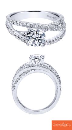 A daring engagement ring for the modern bride-to-be! This gorgeous 14k White Gold Diamond Free Form Engagement Ring will make your special someone's dream come true. Discover your perfect engagement ring at Gabriel & Co.