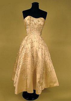 CEIL CHAPMAN STRAPLESS PARTY DRESS, 1950s