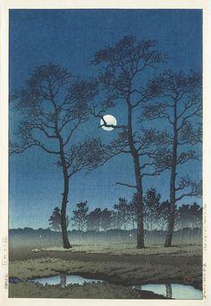 Winter Moon Over Toyama Plain © Kawase Hasui, 1931