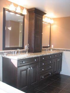 tile backsplash, Brown Granite Countertop Design Ideas, Pictures, Remodel, and Decor - page 6