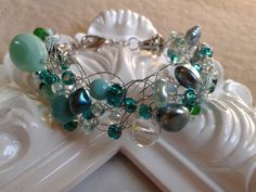 Turquoise and Silver Crocheted Bracelet