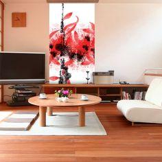 Décor mural sur tapisseries artistique original rouge avec fleurs