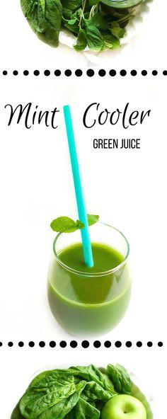 Mint Cooler Green Juice : Glowing Skin + Detox + Helps Digestion. Vegan