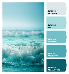 Instantly turn any picture into a palette with ColorSnap, created for you by She. Turquoise Paint Colors, Coastal Paint Colors, Turquoise Painting, Beach Paint Colors, Teal Paint, Shades Of Turquoise, Neutral Paint, Beach House Colors, Spa Colors