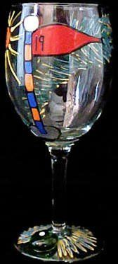 Golf 19th Hole Design Hand Painted Grande Wine Glass by Bellissimo. $34.95. For generations of pleasure and enjoyment, hand washing is recommended for all Bellissimo! merchandise.. Highly collectible, each piece of Bellissimo! is individually signed by the artist.. Bellissimo! is the manufacturer of America's Premier Hand Painted Glassware.. Every product is thoroughly inspected to meet our strict quality control criteria, and then fired twice to insure durability.. All ...